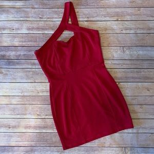 Forever 21 Red One Shoulder Mini Dress